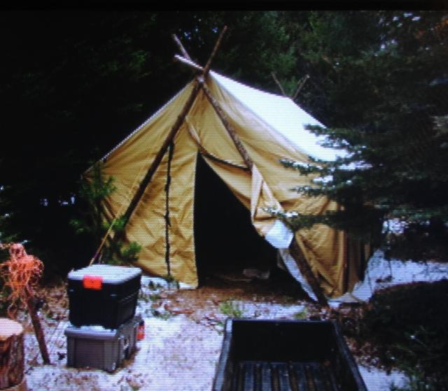 I left the cross bucks at my trapline and made 2 poles out of forked spruce trees using the same ridge pole. Used long ratchet straps for guying the front ... & Setting up a wall tent in the wind with pics | Trapper Talk ...