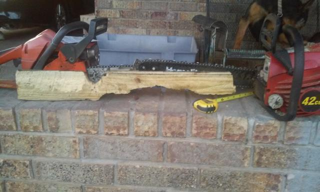 Practice gun stock carving with a chainsaw