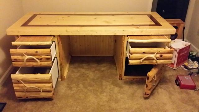 First stab at making log furniture DESK ADDED