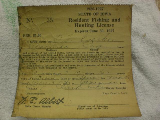 2 old iowa fishing hunting license 39 s f s 1926 1927 trap